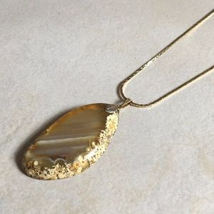 Tigers Eye Polished Necklace Gold Tone Chain